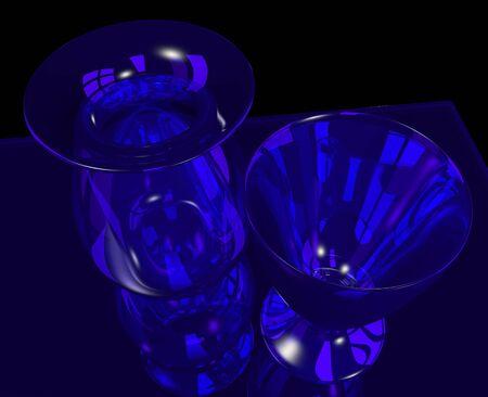 blue glass vase and goblet on black Stock Photo