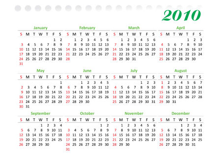 horizontal oriented calendar grid of 2010 year decorated. Sunday is first day of week Illustration