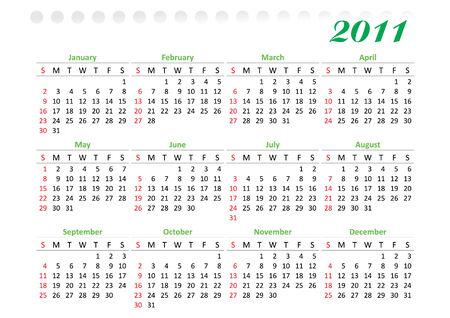 2011 年の水平型カレンダー グリッド装飾されています。日曜日は週の最初の日  イラスト・ベクター素材