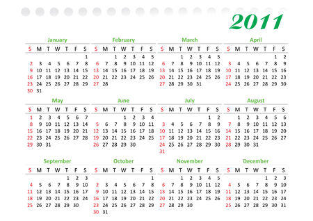 horizontal oriented calendar grid of 2011 year decorated. Sunday is first day of week