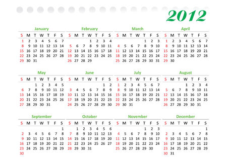 thursday: horizontal oriented calendar grid of 2012 year decorated. Sunday is first day of week Illustration