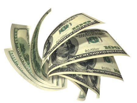 cuenta: La composici�n din�mica de d�lares de varios billetes aisladas en blanco