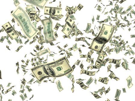 money flying: Dinero sobre fondo blanco