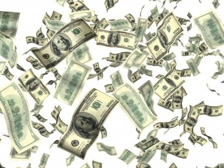 dinero volando: Dinero sobre fondo blanco Foto de archivo