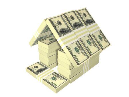 ドル札は白で隔離されるお金の家をパックします。