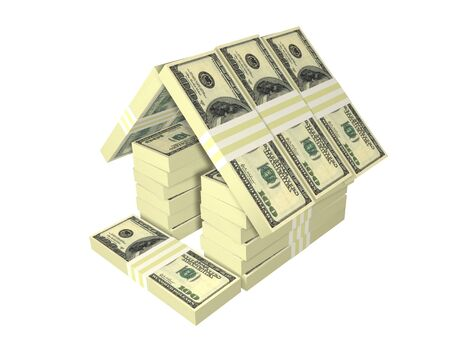 home prices: dollar bills pack money house isolated on white