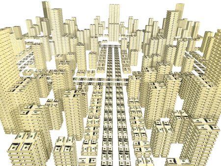 通りとして置かれた手形の積み重ねと白で隔離される都市の建物