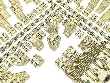 stack of bills placed as streets and building of city isolated on white Stock Photo - 5994810