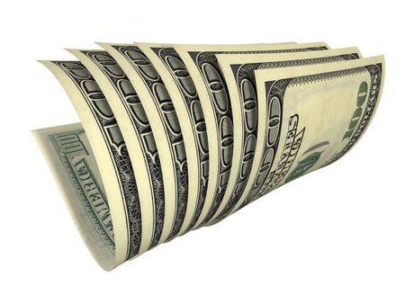 白で隔離されるいくつかのドル紙幣の動的構成