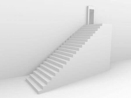 Monochromic 3d rendered image of stair to opened door. photo