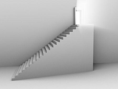 それからの光で開かれたドアに階段のモノクロの 3 d レンダリングのイメージ。 写真素材