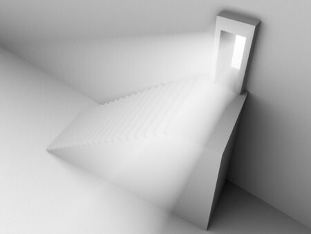 Monochromic 3d rendered image of stair to opened door with light from it. photo