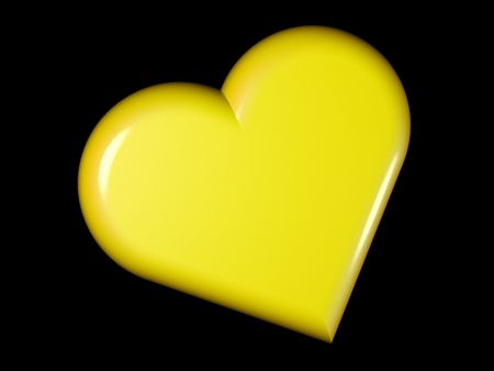 nacre: 3d rendered stylized image of yellow pearl heart isolated on black.