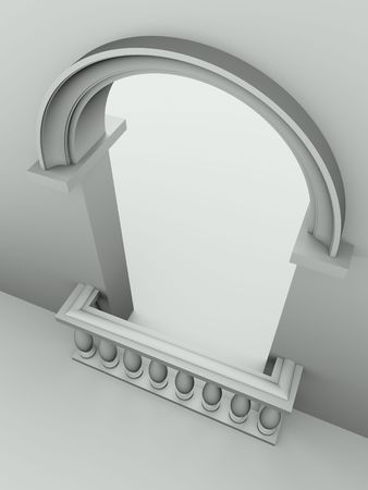 balustrade: Monochromatic image of doorway with arch and balustrade Stock Photo