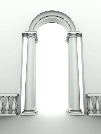 monochromic image of classical entrance with arc, columns and balustrade photo