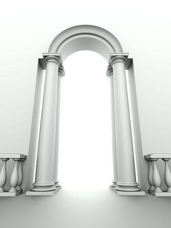 monochromic beeld van klassieke ingang met boog, kolommen en balustrade Stockfoto