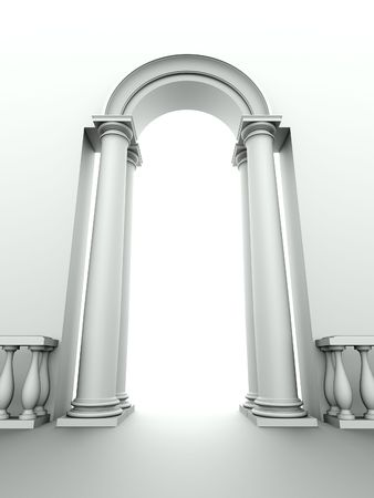 light columns: monochromic image of classical entrance with arc, columns and balustrade