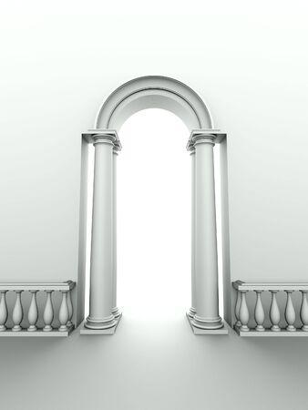 アーク、列および手すりが付いている古典的な入口のモノクロ イメージ 写真素材