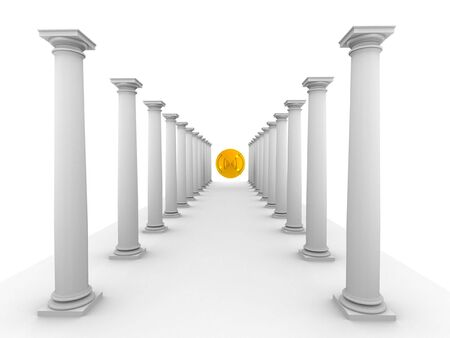 3d rendered image of classic columns with mirror yellow sphere photo