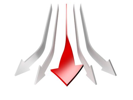 tendency: conceptual 3d rendered image of arrow isolated on white