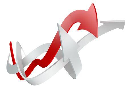 矢印を白で隔離されるの概念的な 3 d レンダリング イメージ