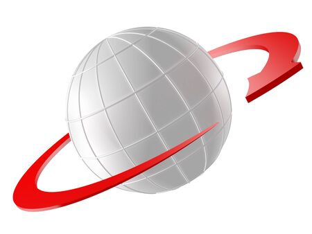 orbiting: 3D rendered Globe with red arrow as orbit. Isolated on white