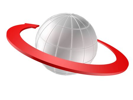 3D rendered Globe with red arrow as orbit. Isolated on white