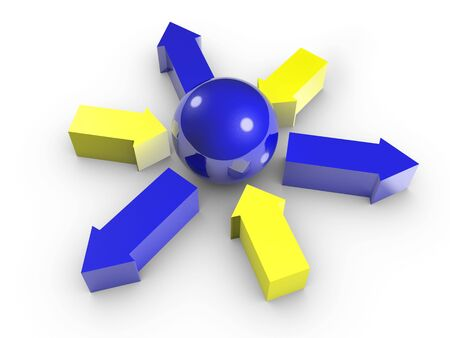 inwards: Conceptual image of blue sphere and yellow arrows in to centre, and blue arrows out from centre. Isolated. Stock Photo