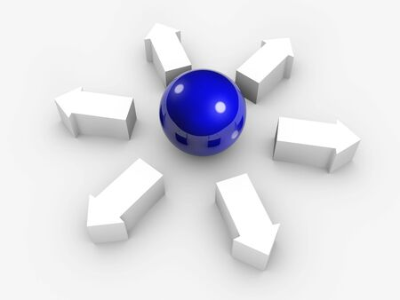 Conceptual image of blue sphere and white arrows out from centre. Isolated. 写真素材