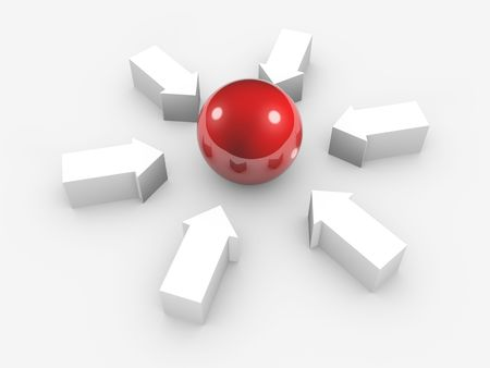 inwards: Conceptual image of red sphere and white arrows in to centre. Isolated.