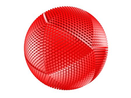 thorny: Red thorny textured sphere isolated on white