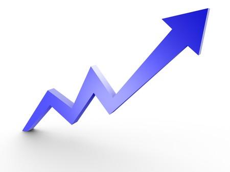 ビジネス グラフ、3 d レンダリングされた概念的な矢印図 写真素材