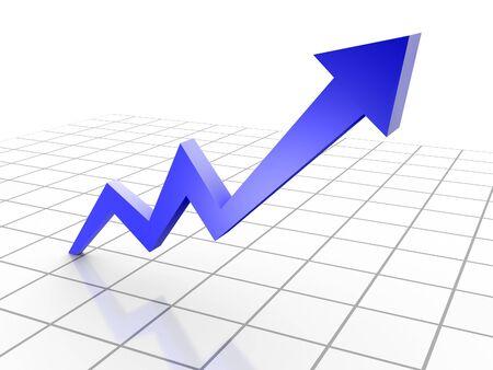 ビジネス グラフ、グリッド上の 3 d レンダリングされた概念的な矢印グラフ