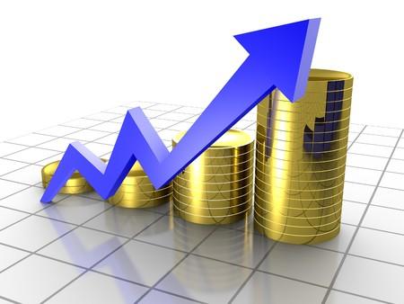 ビジネス グラフ、3 d レンダリング概念グリッド上の矢印とコインのグラフ 写真素材