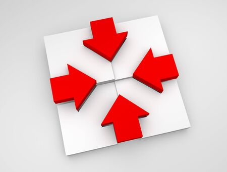 Conceptual illustration of red arrow directed into center and white arrow directed out of center illustration