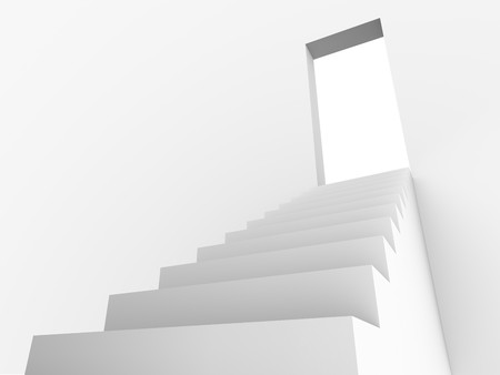 monochromic: Monochromic 3d rendered image of stair to opened door.