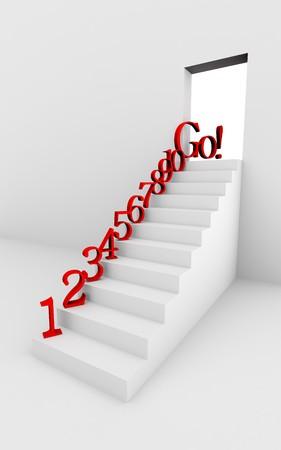 モノクロ 3 d のレンダリング画像の赤い数字と階段。