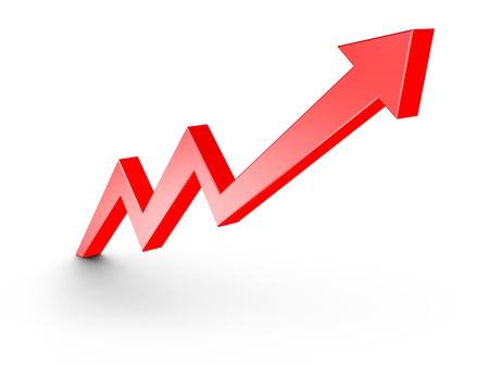 白で隔離される赤矢印の成長グラフ