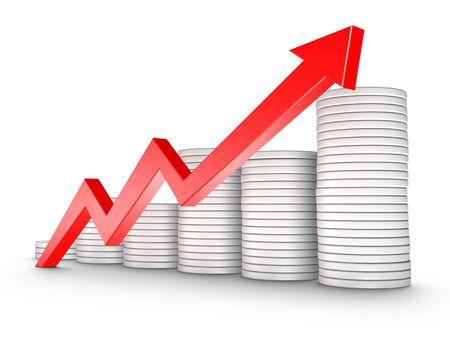 赤矢印と白で隔離される硬貨の成長チャート