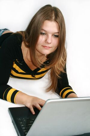 Business girl with laptop Stock Photo - 2879091