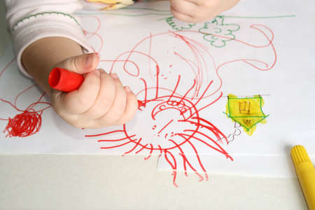 Cute little girl drawing with markers Stock Photo - 2969029