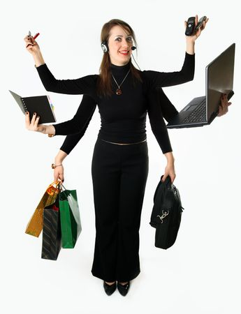 bags in hands: Mythic Woman carries out many matters simultaneously 6 by the hands Stock Photo