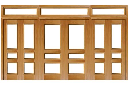 Close doors isolated on white (clipping path). 3D rendered Illustration.