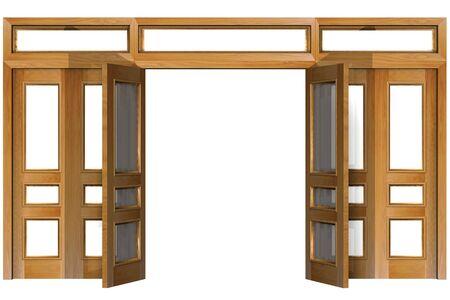 tabique: Abrir las puertas aisladas en blanco (clipping path). Forma tridimensional.