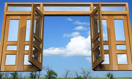 glass partition: Open doors against the background nature. Three-dimensional Shape. Stock Photo
