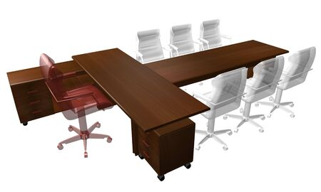 chipboard: luxury Table of the director  3D rendering Stock Photo