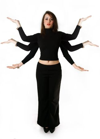 Mythical woman has six hands against the white background