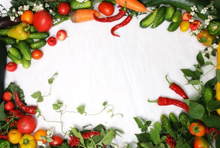 kitchen garden: Full frame of a broad variety of Berries and vegetables