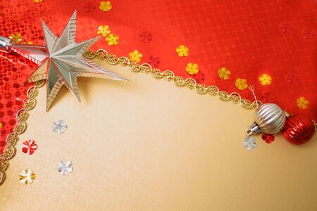 Framework from christmas ornaments. Isolation on Gold  photo