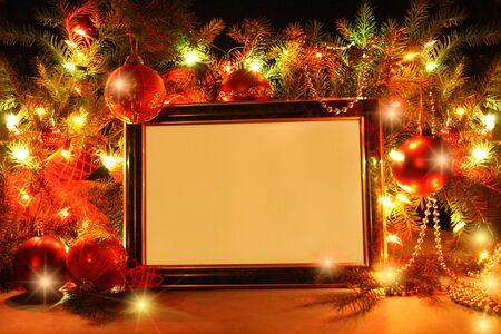 Abstract Christmas tree, lights, Ribbon and frame  photo